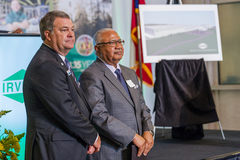 MWA Chairman Sam Hart (right) and President and Executive Director Tony Rojas (left) were on hand for the announcement that Irving Consumer Products is coming to Macon-Bibb County.