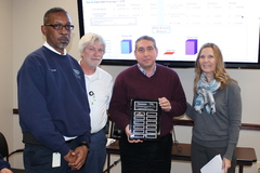Reggie Cooper (second from left), who was a part of the MWA team to receive the Water Distribution System Gold Award last fall, was inducted this spring into the inaugural class of the GAWP Golden Hydrant Society.