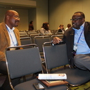 Gary McCoy speaks with a colleague prior to his technical session at the GAWP Annual Conference.