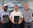 (L to R): Lerthurma Bonner, with the GAWP Collection System Platinum Award, Chad Copeland, with the GAWP Water Distribution System Gold Award, and Darryl Macy, MWA Water Distribution-Sewer Conveyance Manager.
